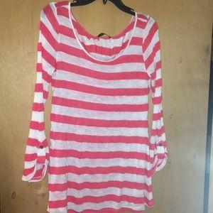 Coral & white knit blouse